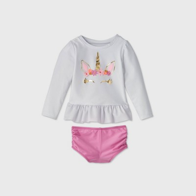 Toddler Girls' 2pc Unicorn Face Long Sleeve Rash Guard Set - Cat & Jack™ White