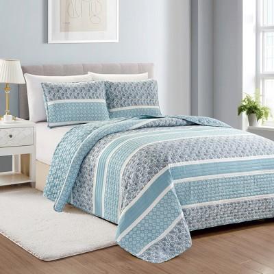 Great Bay Home Kadi Reversible Paisley Striped Quilt Set