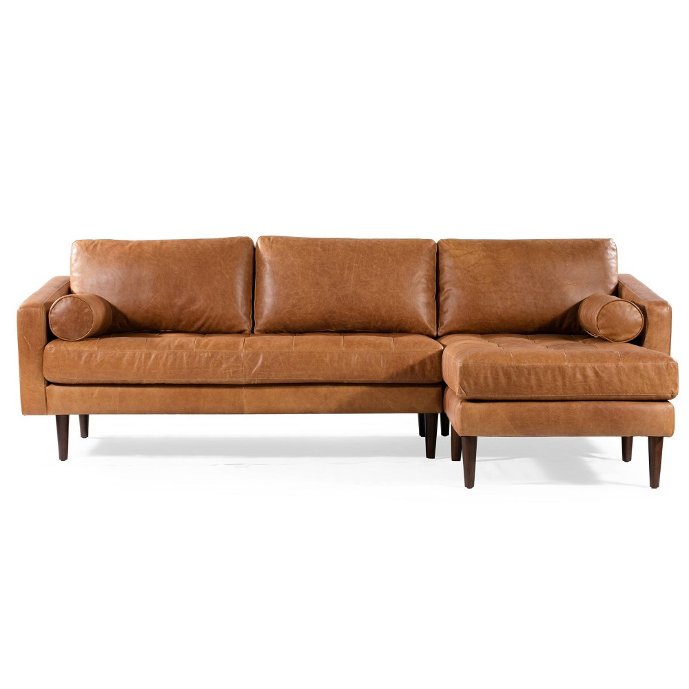 Image of Florence Mid Century Modern Right Sectional Sofa Cognac Tan - Poly & Bark, Brown