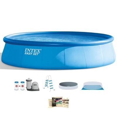 Intex 18ft x 48in Inflatable Easy Set Pool w/ Ladder, Pump, & Winterizing Kit