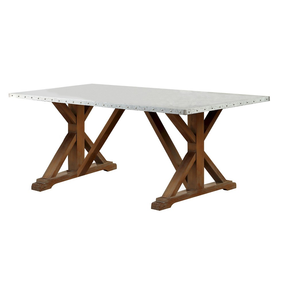 Sun & Pine Iron Table Top Nail head Trimmed X-Crossed Base Dining Table Wood/Natural Tone