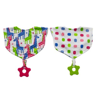 Neat Solutions 2pk Printed Interlock/Knit Terry Baby Bib with Teether Set