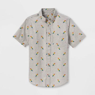 Pride Gender Inclusive Adult Rainbow Lightning Print Button-Down Shirt - Heather Gray L