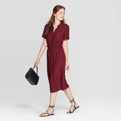 Women's Short Sleeve Collared Midi Shirtdress - A New Day™ Burgundy