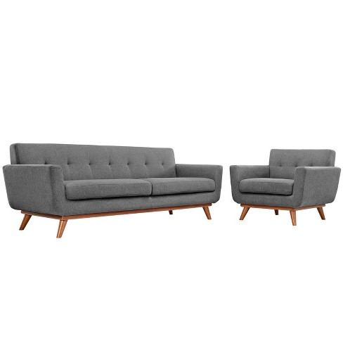 Engage Armchair and Sofa Set of 2 Expectation Gray - Modway - image 1 of 6