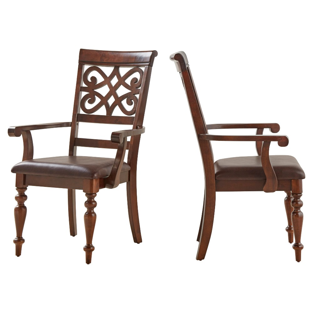 Hatton Hill Scroll Detail Arm Dining Chair Wood/Cherry (Red) (Set of 2) - Inspire Q