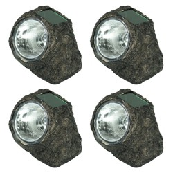 4ct Solar LED Rock Garden Light - Sunnydaze Decor