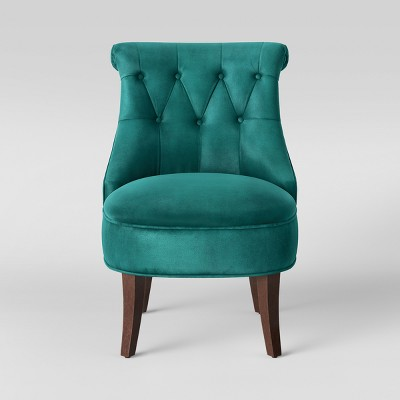 Nerine Tufted Rollback Accent Chair Velvet Teal - Assembly Required - Opalhouse™