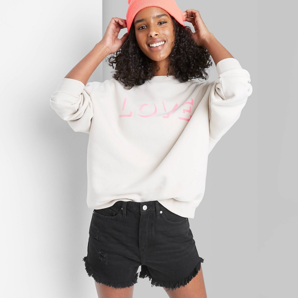 Women 39 S High Rise Frayed Hem Jean Shorts Wild Fable 8482 Black 14
