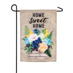 Evergreen Flag Wood Flower Crate  Garden Burlap Flag