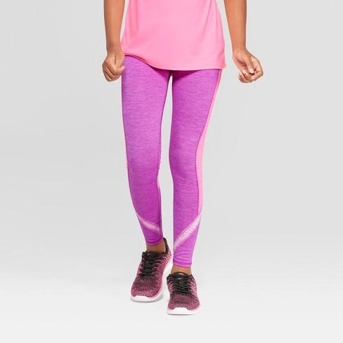 Girls' Tri Color Blocked Leggings - C9 Champion® Purple L - image 1 of 3