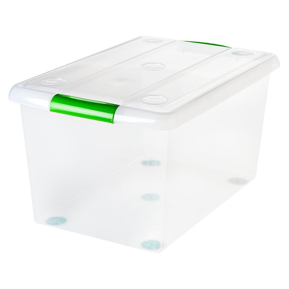 Iris 61 Qt. Sliding Plastic Storage Bin - 6pk, Clear