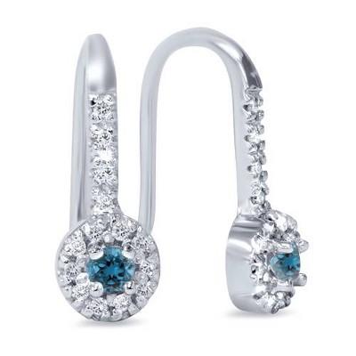 Pompeii3 1/4ct Treated Blue & White Diamond Drop White Earrings 14K White Gold