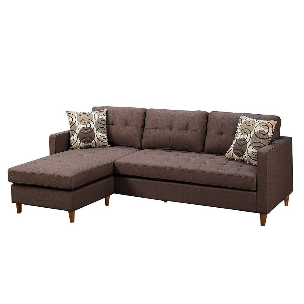 Image of 2pc Polyfiber Sectional With Pillows Brown - Benzara