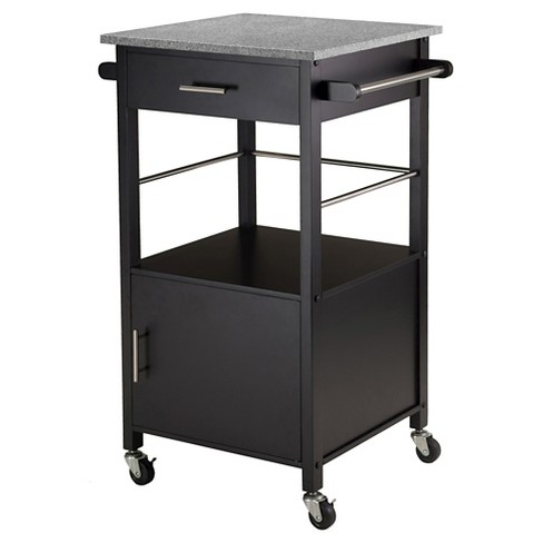 Winsome Davenport Kitchen Cart With Granite Top Black