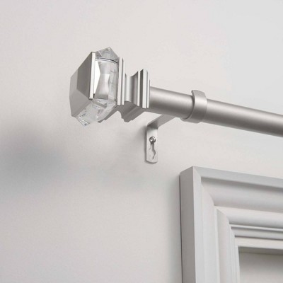 66 x120  Adjustable Marquise 1  Curtain Rod and Coordinating Finial Set Matte Silver - Exclusive Home