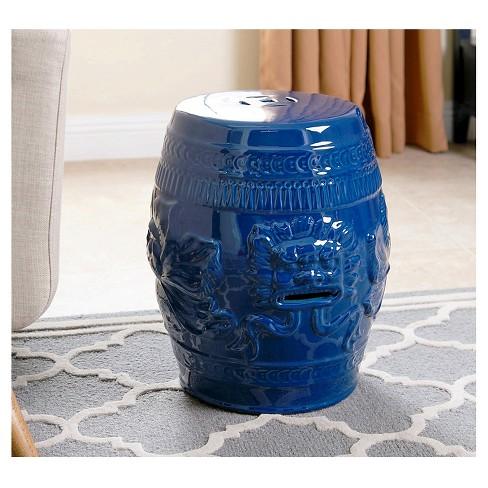 chinese lion navy blue ceramic garden stool abbyson living target - Ceramic Garden Stool