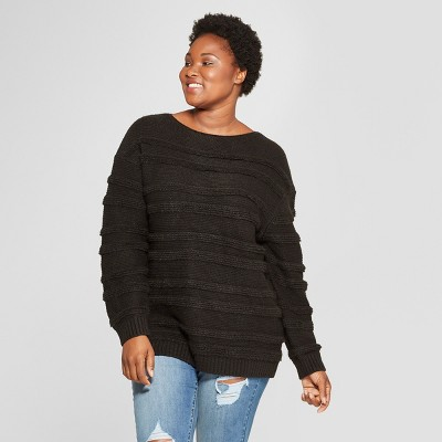 5b518aefcfe Women s Plus Size Striped Long Sleeve Boucle Pullover Sweater - Universal  Thread™ Black