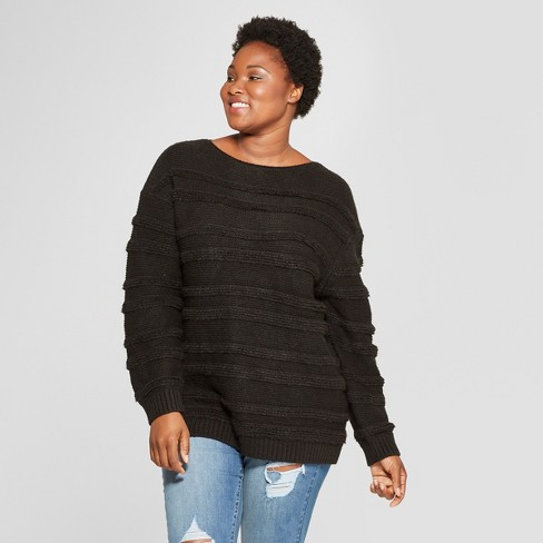 be64c2a97fb Women's Plus Size Striped Long Sleeve Boucle Pullover Sweater - Universal  Thread™ Black