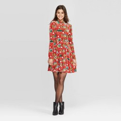 Women's Long Sleeve Car/Tree Ugly Holiday A-Line Mini Dress - Born Famous (Juniors') - Red
