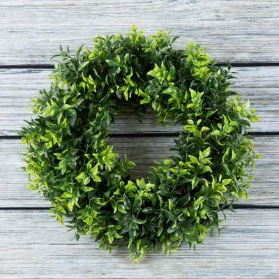 "Round Artificial Opal Basil Leaf 11.5"" Wreath 11.5"" - Pure Garden"
