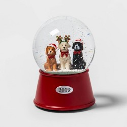 "5.5"" x 3.8"" Christmas Dogs Musical Snow Globe - Wondershop™"