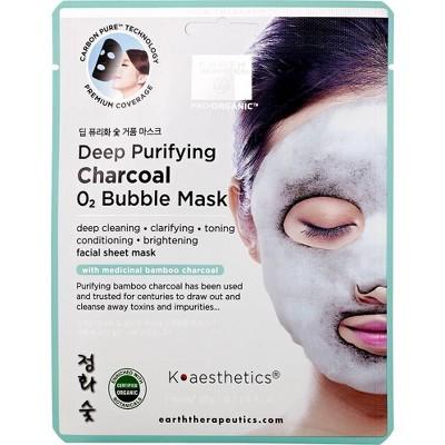 Earth Therapeutics Deep Purifying Charcoal Bubble Facial Mask - 3pk