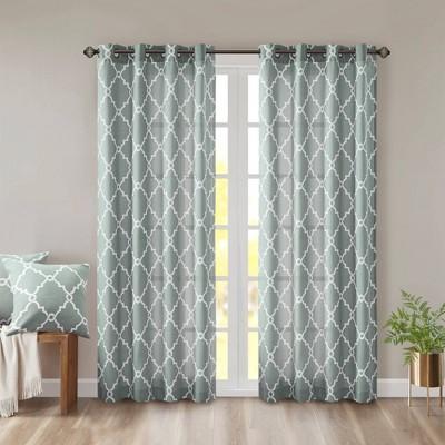 "84""x50"" Sereno Fretwork Print Light Filtering Curtain Panel Green"