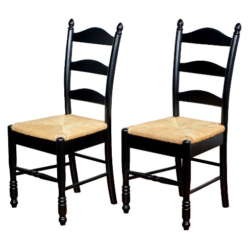 Ladder Back Dining Chairs Wood Black Set Of 2 Tms Target