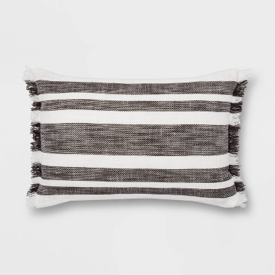 Woven Stripe with Fringe Lumbar Pillow Cream/Black - Threshold™