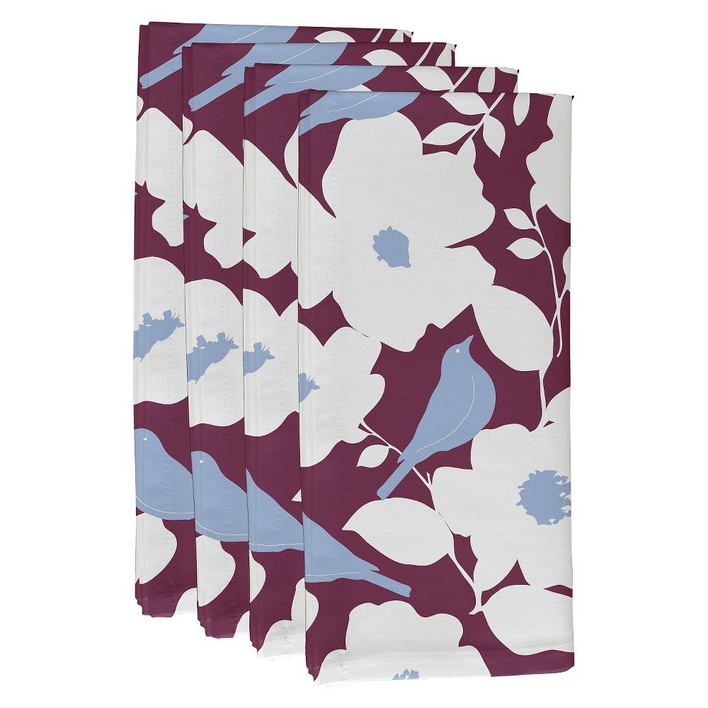 "Image of ""Purple Modfloral Floral Print Napkin Set (19""""X19"""") - E By Design"""