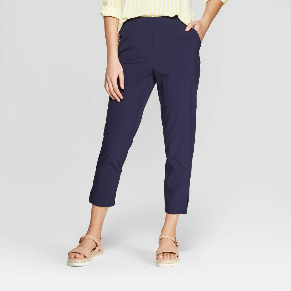 Women's Mid-Rise Slim Woven Straight Pants - A New Day Navy (Blue) XS
