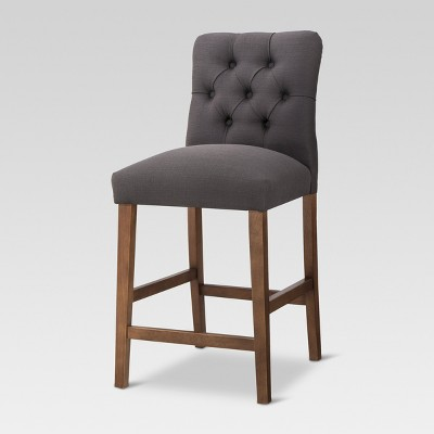 Brookline Tufted 25  Counter Stool - Chestnut Finish - Charcoal - Threshold™