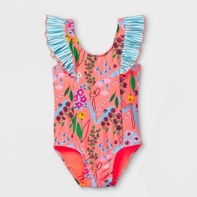 Toddler Girls' Floral Print One Piece Swimsuit - Cat & Jack™ Moxie Peach