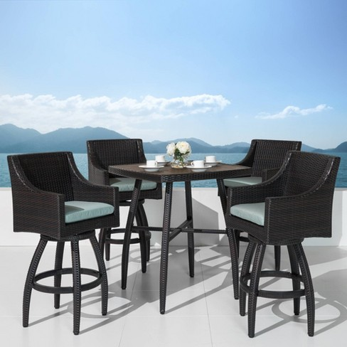 Deco 5pc Patio Wicker Patio Dining Set - Spa Blue - RST Brands - image 1 of 9