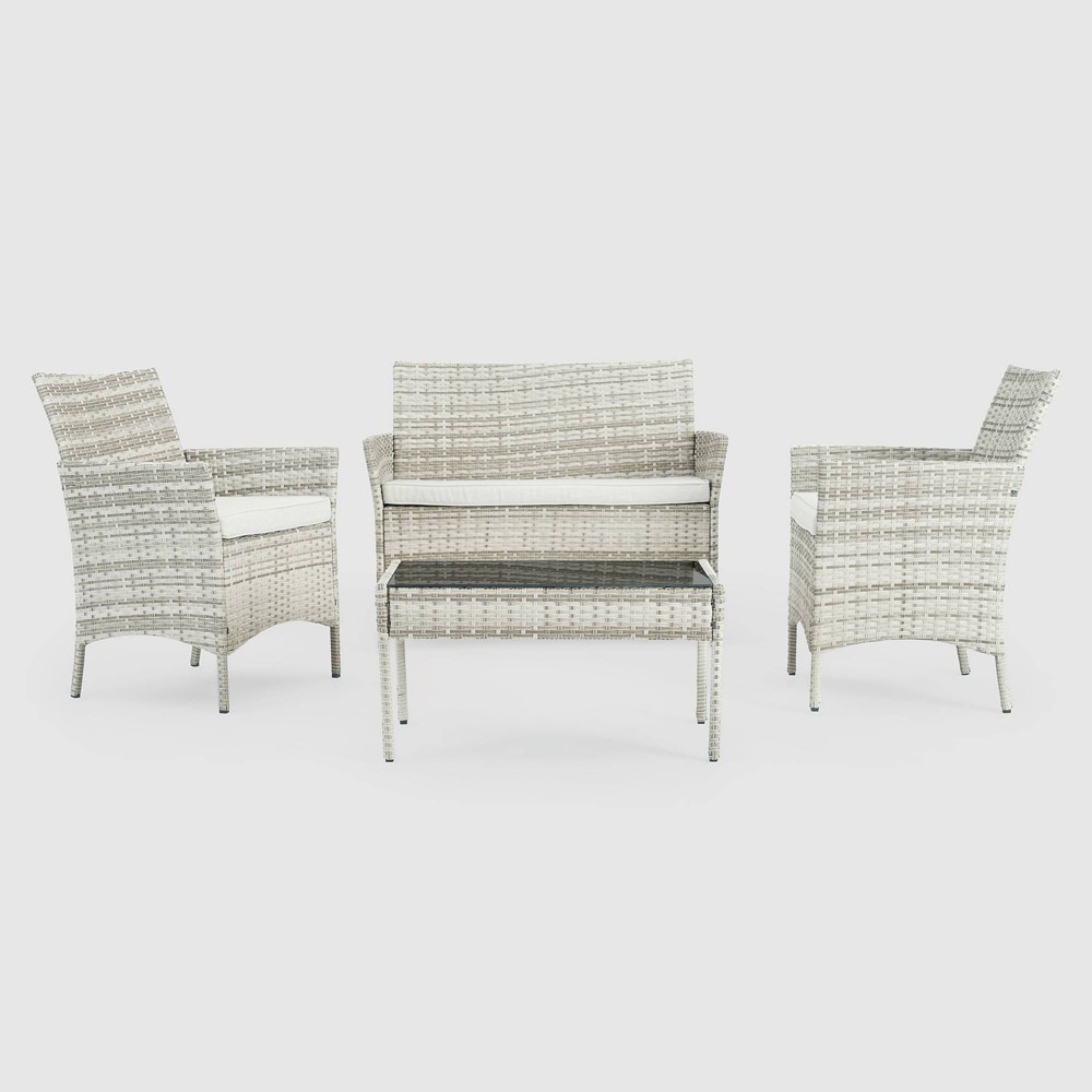 Image of Kanab 4pc Wicker Seating Set - Gray - Sego Lily