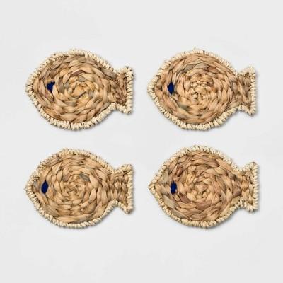 5.5  x 4.3  Water Hyacinth Fish Shaped Coasters Natural - Threshold™
