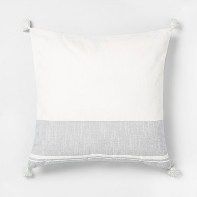 22x22 Color Blocked Stripe Tassel Throw Pillow Neutral Gray - Hearth & Hand™ with Magnolia