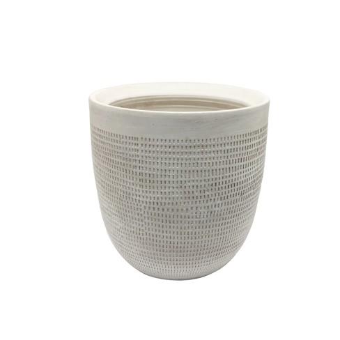 "9.5"" Textured Ceramic Planter - White - Threshold™ - image 1 of 2"