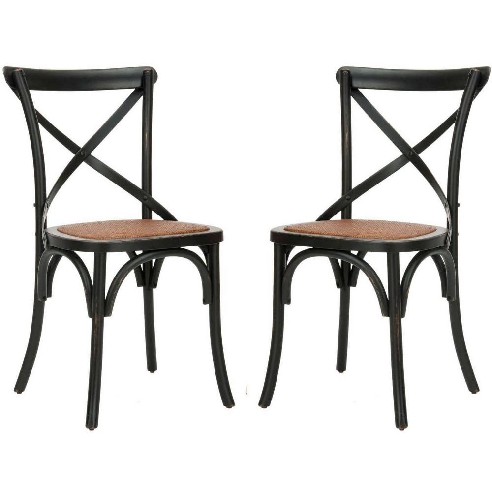 Set of 2 Dining Chairs Vintage Black - Safavieh