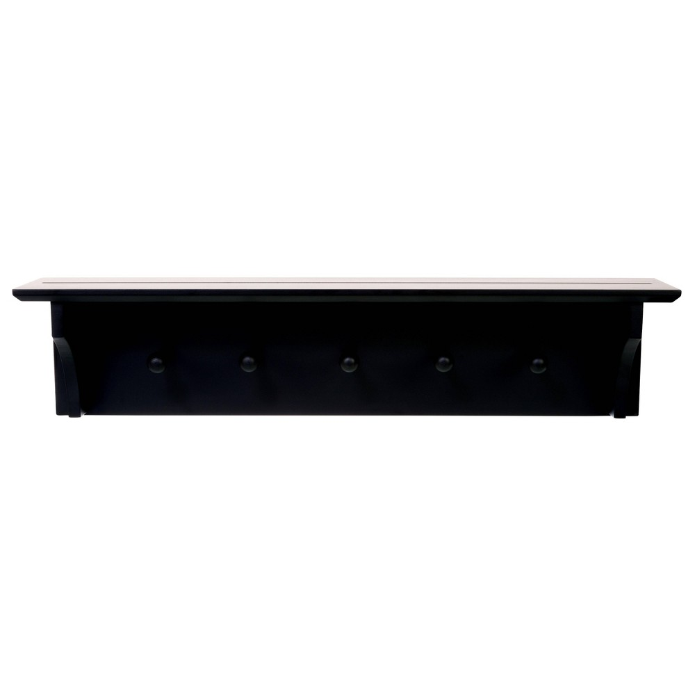Image of Foster Wall Shelf with Pegs - Black