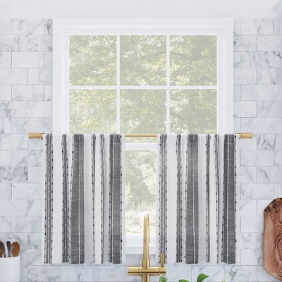 Set of 2 Slub Textured Striped Cotton Cafe Curtain Tiers Black/White - Archaeo