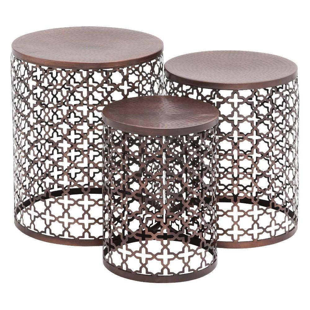 Metal (Set of 3) Cylinder Quatrefoil Design Accent Tables Brown - Olivia & May