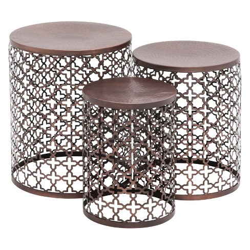 Metal (Set of 3) Cylinder Quatrefoil Design Accent Tables Brown - Olivia & May - image 1 of 6