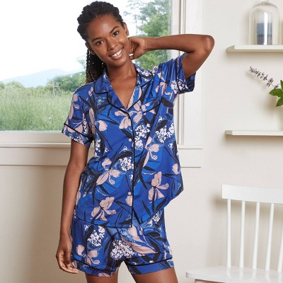 Women's Floral Print Beautifully Soft Short Sleeve Notch Collar Top and Shorts Pajama Set - Stars Above™ Blue L