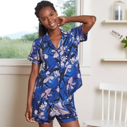 Women's Floral Print Beautifully Soft Short Sleeve Notch Collar Top and Shorts Pajama Set - Stars Above™ Blue