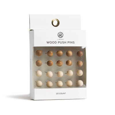 U Brands 20ct Sphere Wood Push Pins