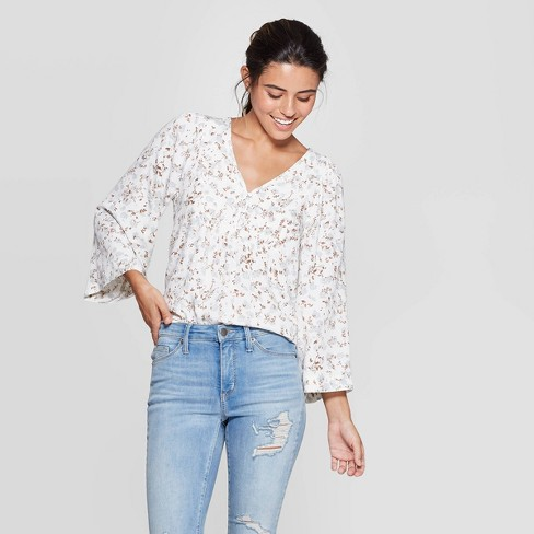 Women's Floral Print Long Sleeve V-Neck Peasant Top - Universal Thread™ White - image 1 of 3
