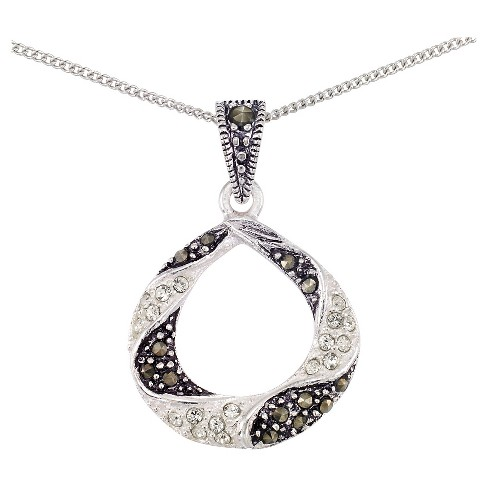 Marcasite Oval Pendant on Chain-Sterling Silver - image 1 of 1