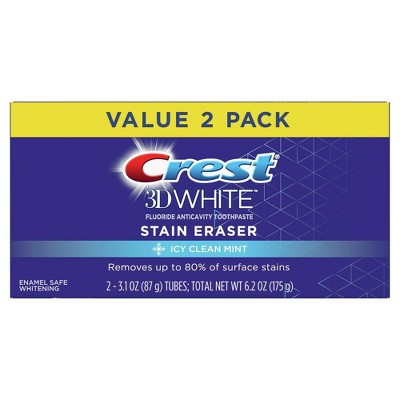 Crest 3D White Stain Eraser Teeth Whitening Toothpaste - Icy Clean Mint - 3.1oz